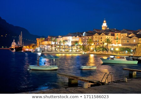 Town of Korcula waterfront evening view Stock photo © xbrchx