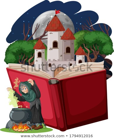 Wizard or witch and castle tower on pop up book cartoon style on Stock photo © bluering