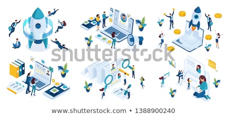 Hr Human Resources Isometric Icons Set Vector Stock photo © pikepicture