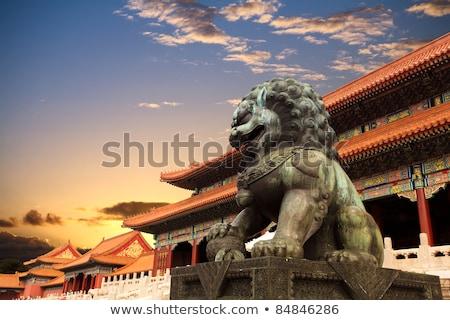 лев · скульптуры · Запретный · город · Пекин · Китай · здании - Сток-фото © sahua