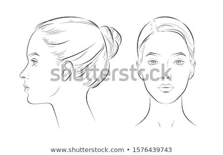 Foto stock: Cara · esboço · compensar · mulher · olho · sensual