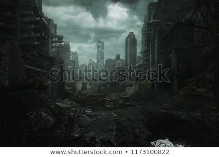 Nuclear guerra foto mulher empurrando destruição Foto stock © Francesco83