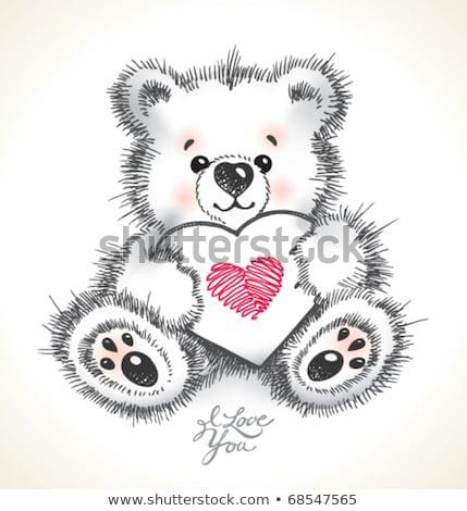 Dibujado a mano peludo osito de peluche corazón cute Foto stock © Elmiko