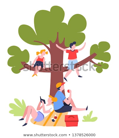 Stock photo: Man eating an apple under a tree