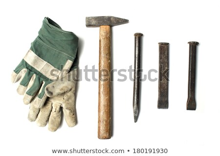 Bricklayer with a hammer and chisel Stock photo © photography33