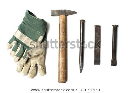 Kőműves kalapács véső férfi építkezés ipar Stock fotó © photography33