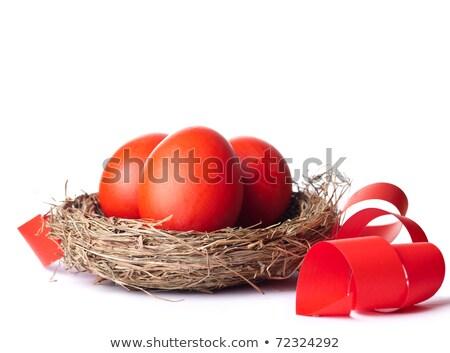 赤 イースターエッグ バスケット リボン 緑 塗料 ストックフォト © elly_l