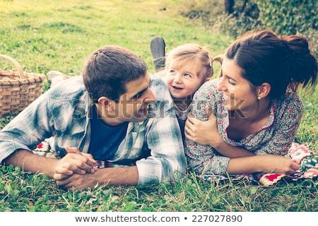 Jungen Familie drei Frau Baby Lächeln Stock foto © Paha_L