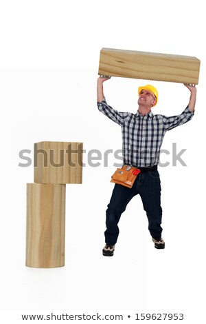 Stock fotó: Férfi · nehézség · emel · fából · készült · raktár · emberi