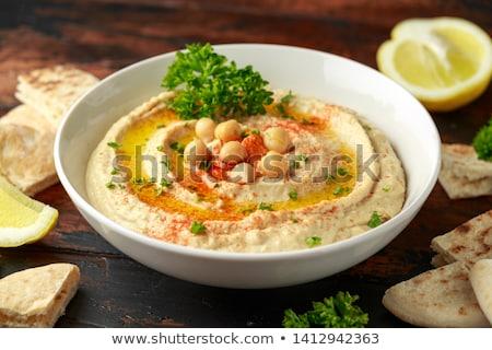 closeup on hummus with pita bread Stock photo © M-studio