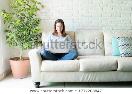nő · ül · kanapé · számítógép · otthon · portré - stock fotó © photography33