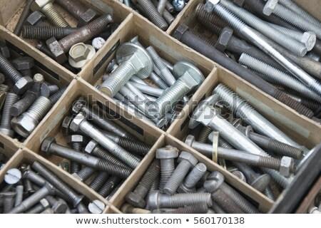Foto stock: Velho · gaveta · organizado · longo · tempo · garagem