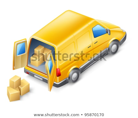 Delivery van brown three sides vector illustration Stock photo © lkeskinen