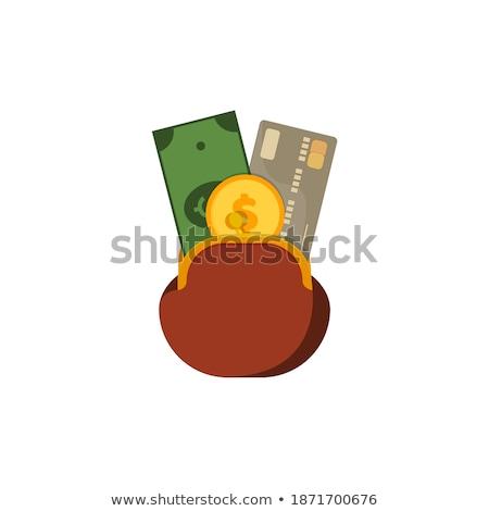 öreg · bőr · pénztárca · számlák · bent · izolált - stock fotó © broker