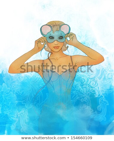 Beautiful  blonde woman in mouse masquerade costume. stock photo © Pilgrimego