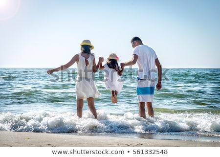 Foto stock: Família · feliz · pai · filha · praia · férias · de · verão