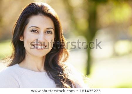 çekici koyu esmer kadın poz beyaz güzellik Stok fotoğraf © pdimages