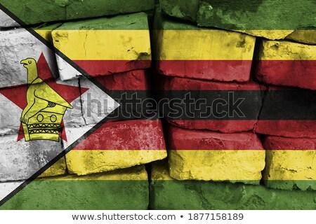 bandera · Zimbabue · pared · de · ladrillo · pintado · grunge · edificio - foto stock © creisinger