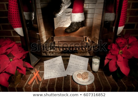 santa claus girl in red stockings stock photo © carlodapino