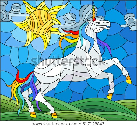 Stained glass with unicorn Stock photo © jakatics