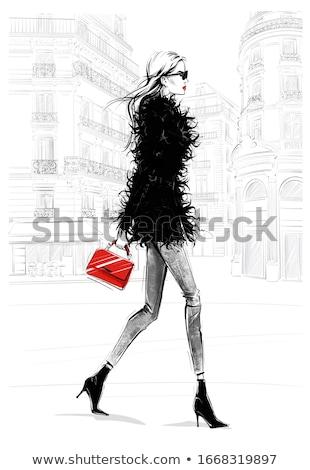 Mooie jonge blond zwarte jas leggings Stockfoto © acidgrey