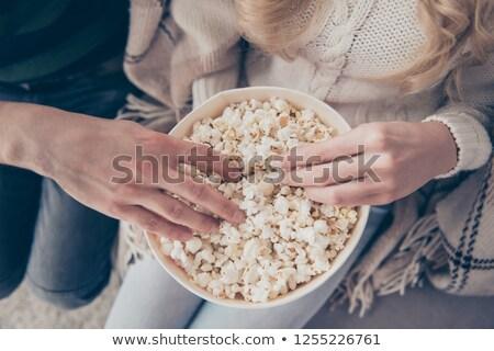 caramelo · pipoca · branco · tigela · comida - foto stock © photography33