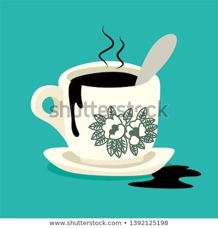 Photo stock: Tasse · de · café · noir · contour · lumière · fumée