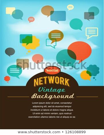 Foto stock: Red · social · los · medios · de · comunicación · comunicación · vintage · estilo · manos
