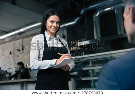 Garson yazı notepad gülen gömlek erkek Stok fotoğraf © wavebreak_media