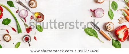 Gesunden frische Lebensmittel weiß Tabelle Gerichte Fisch Stock foto © travelphotography