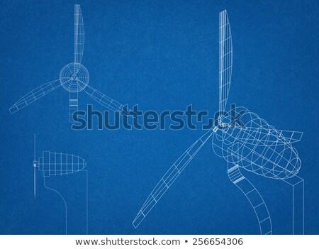 Windmill alternative energy 3d generator blueprint with wind flow vector Stock photo © krabata