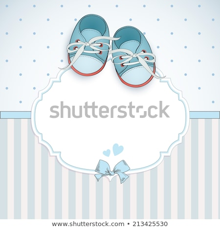 baby boy announcement card vector illustration stock photo © mcherevan