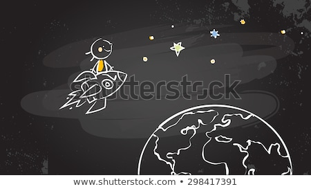 Drawing children and earth by a chalk stock photo © romvo