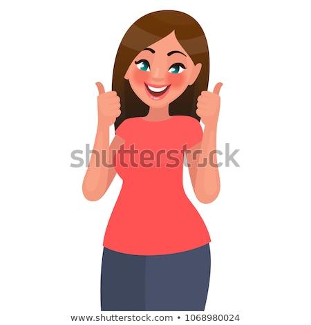 positief · jonge · vrouwelijke · vingers · omhoog - stockfoto © pablocalvog