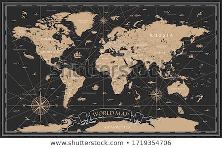 detallado · negro · mapa · India · Asia · ilustración - foto stock © hunthomas