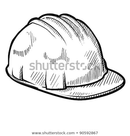 Citromsárga munkavédelmi sisak rajzok kesztyű kalapács papír Stock fotó © taden