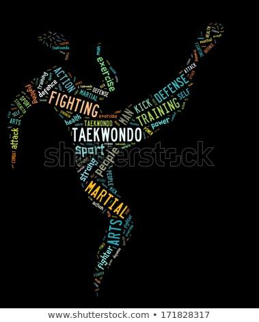 Stock photo: taekwondo pictogram with colorful related wordings on black back