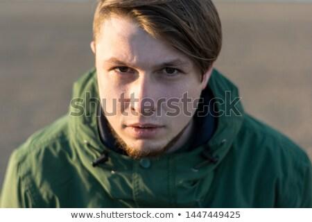 Stockfoto: Dramatisch · jonge · nadenkend · mode · man · lang