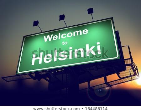 看板 歓迎 ヘルシンキ 日の出 緑 ストックフォト © tashatuvango