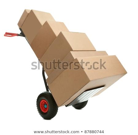 Import kartondoboz kéz teherautó jelmondat fehér Stock fotó © tashatuvango