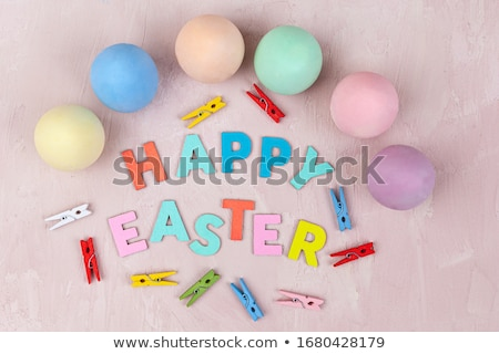 Grungy Easter Background with Decorated Eggs Stock photo © WaD