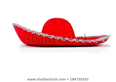 Rood sombrero hoed geïsoleerd witte zon Stockfoto © Elnur