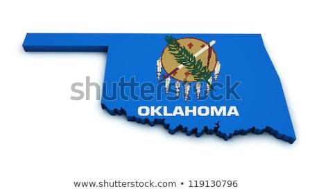 Mappa Oklahoma 3D colorato blu Foto d'archivio © NiroDesign
