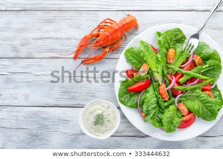 Karides tekneler marul mayonez deniz ekmek Stok fotoğraf © suegresham
