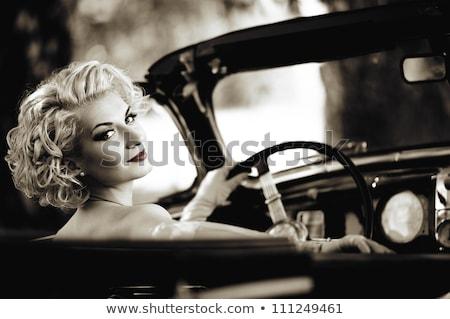 Retro mujer detrás volante coche moda Foto stock © Nejron