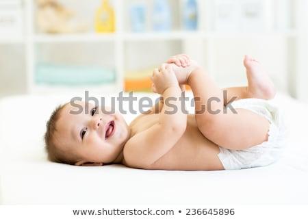Mutlu bebek yatak gülümseme göz güzellik Stok fotoğraf © nikkos
