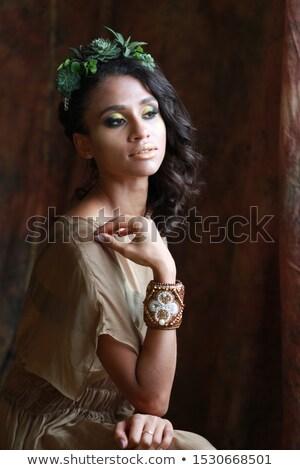 Genç bayan peri makyaj yeşil elbise Stok fotoğraf © FAphoto
