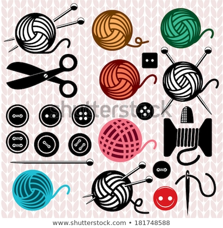 Stock fotó: Vector Icons Of Yarn Balls With Sewing Equipment Needles And She