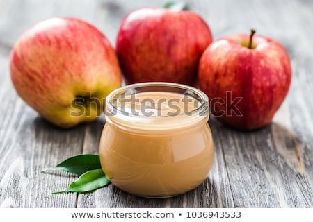 kanál · kása · almák · reggeli · ezüst · egészséges - stock fotó © es75