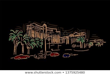 Couleur pour aquarelle art imprimer Skyline Las Vegas Nevada Photo stock © chris2766